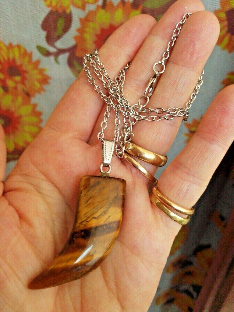 Collana unisex con ciondolo pendente corno portafortuna in autentico occhio di tigre naturale chakra cristalloterapia