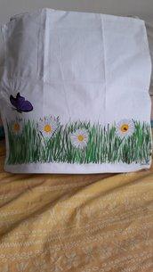 Federa cuscino dipinta a mano 40x40