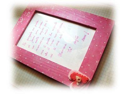 Cornice portafoto- rosa su cuore Regalo mamma