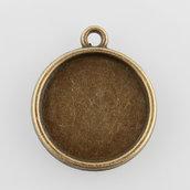 10 pendenti base cabochon 16mm bronzo