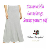 Cartamodello gonna lunga, skirt long in  pdf pattern sewing