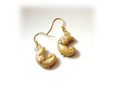 orecchini gold moon-fimo cernit