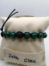 Bracciale tibetano in malachite