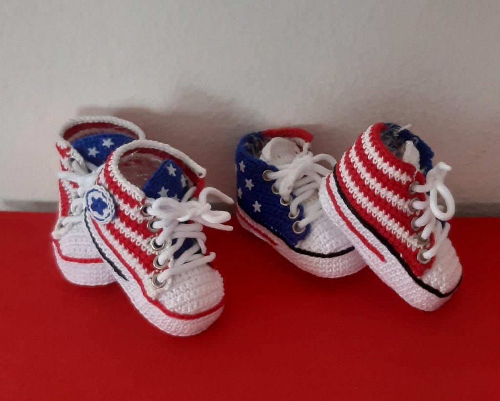 Scarpine neonato tipo Converse bandiera americana