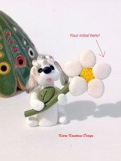 Regalo festa della mamma Decorazione con cane shih tzu personalizzato con la vostra iniziale sul petalo, regalo per amanti degli shih tzu