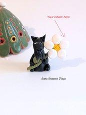 Regalo Festa della mamma Decorazione con cane scottish terrier personalizzata con la vostra iniziale sul petalo, regalo per amanti dei cani