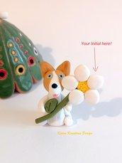 Regalo Festa della mamma con cane corgi personalizzato con la vostra iniziale sulla margherita, regalo mamma per amanti dei pembroke corgi