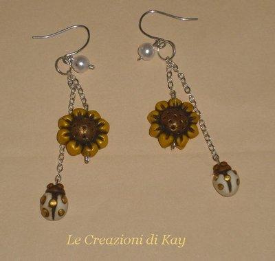 Orecchini Sunflower-Ladybug