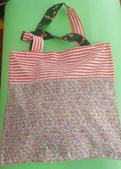 Spring bag, fiori e righe