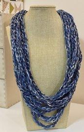Collana  estate  in cotone blu e argento