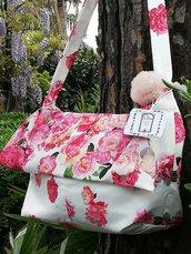 Borsa shopper  in tessuto a fiori