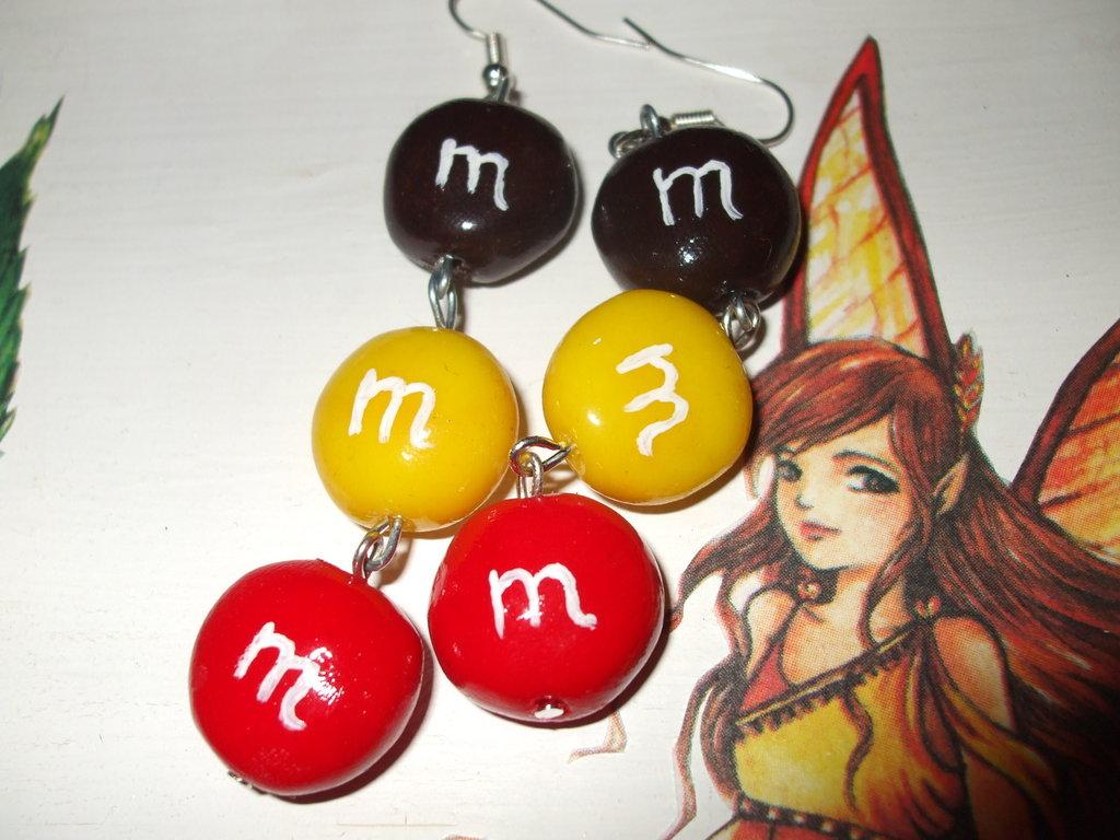 Orecchini M&M's in fimo cernit handmade
