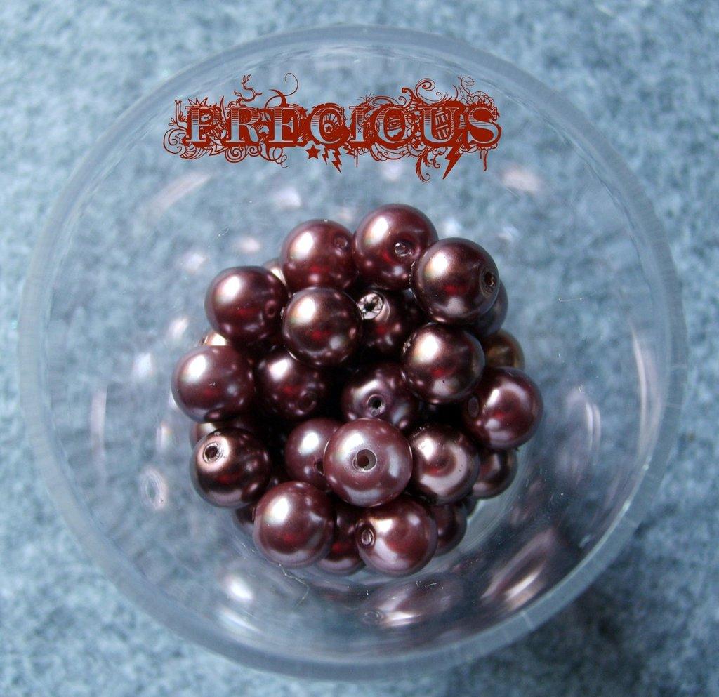 30 perline cerate marroni