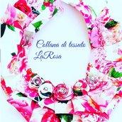 Collana in tessuto a fiori con rose e strass