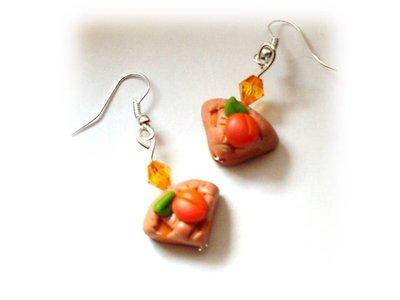 Orecchini crostata marmellata albicocca- fimo