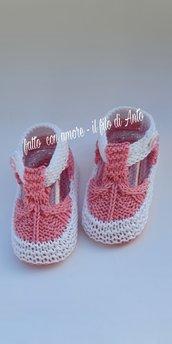 Scarpine Sandali neonato in puro cotone 100%