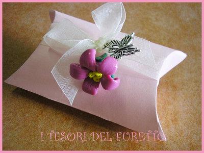 Bomboniera Segnaposto Portaconfetti Fimo Fiore Rosa Matrimonio Comunione Nascita Battesimo Cresima