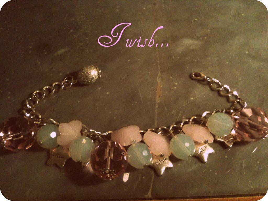 Bracciale charms rosa e argento