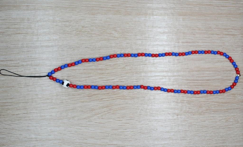 phone strap perline squadra calcio rosso blu, cinturino per telefono perline, catenella per cellulare, ciondolo perline telefono