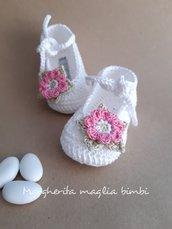 Scarpine bianche per neonata/bambina - fiore rosa - cotone - Battesimo