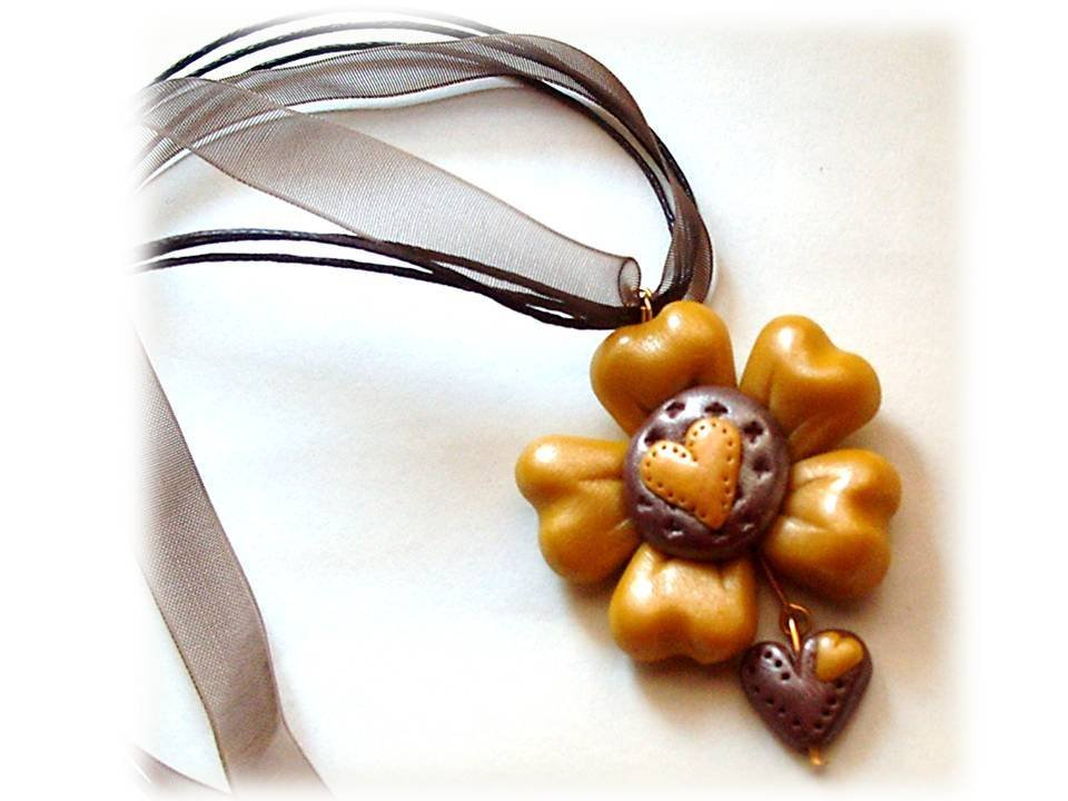 Collana gold flower- fimo