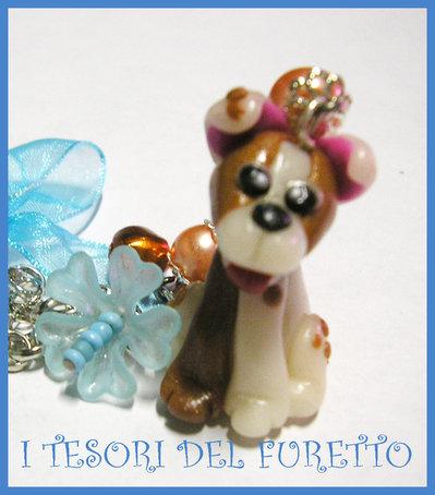 """Collana Cane Necklace dog Cagnolino Fimo """"Smile"""" Meticcio Bianco e Marrone"""