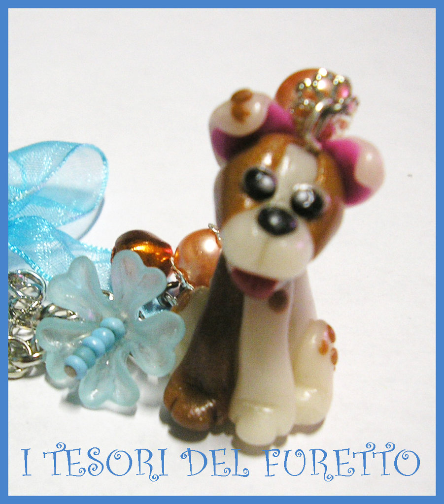 "Collana Cane Necklace dog Cagnolino Fimo ""Smile"" Meticcio Bianco e Marrone"