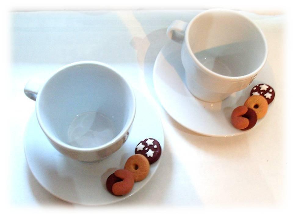 Set due tazze da caffè- fimo- biscotti