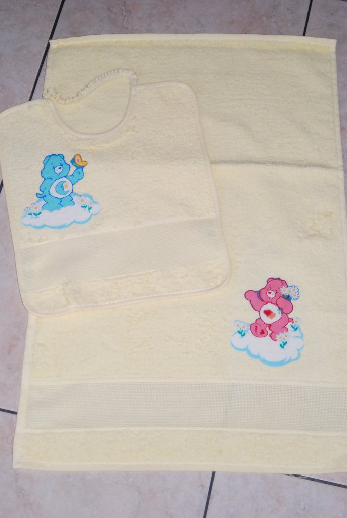 Set 2 pz Nido Materna - Care Bears giallo - da ricamare