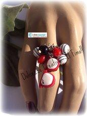 Anello Occhiali Rayban in fimo e cernit con perle