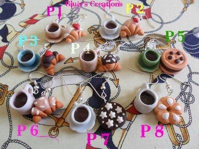 Orecchini tazzina di caffe' con biscotti e cornetti