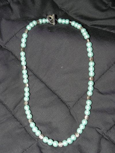 collana perle verde acquamarina