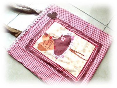 Borsa di stoffa- sweet girl- red shopping bag