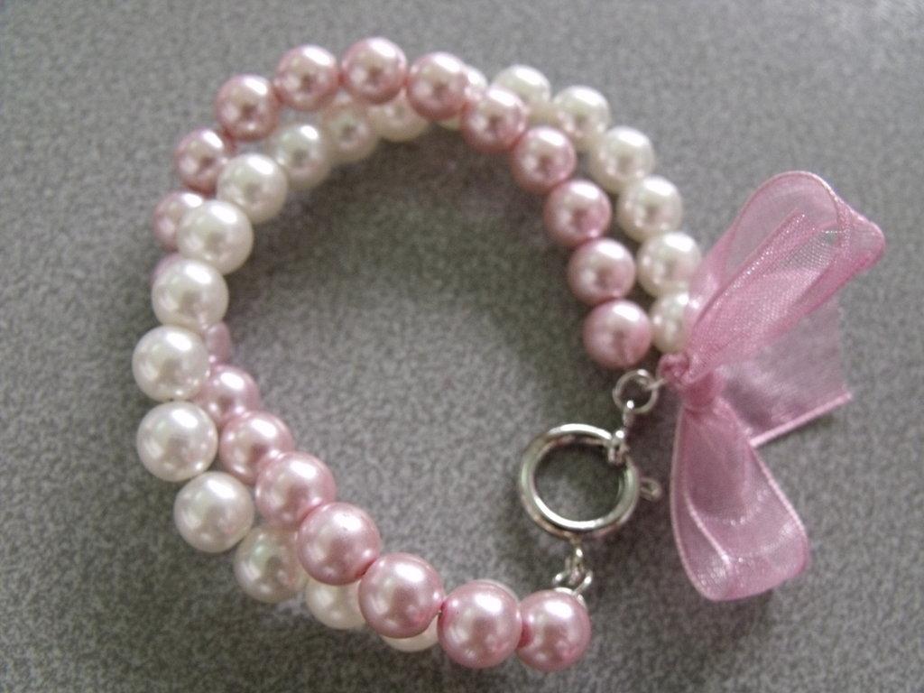 Bracciale perle bianche e rosa