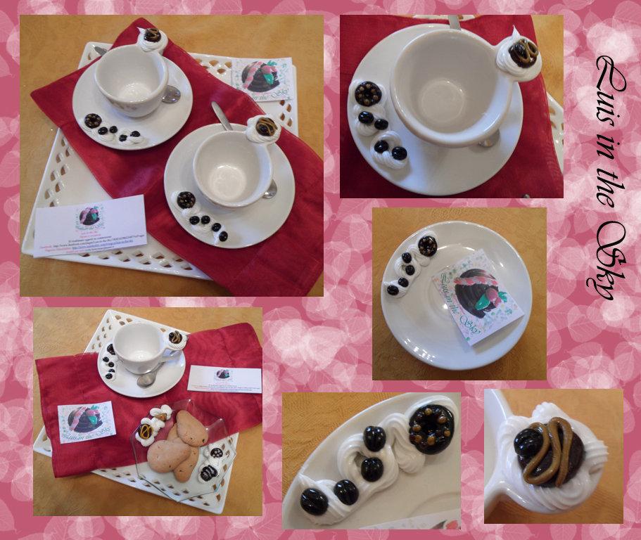 set due tazzine da caffè decorate in cernit