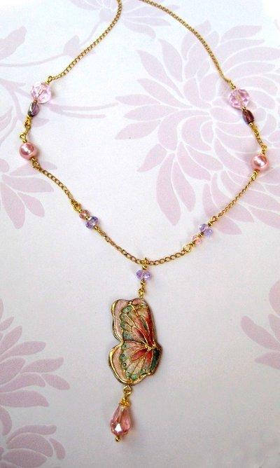 Collana farfalla rosa fatta a mano- gioielli fatti a mano