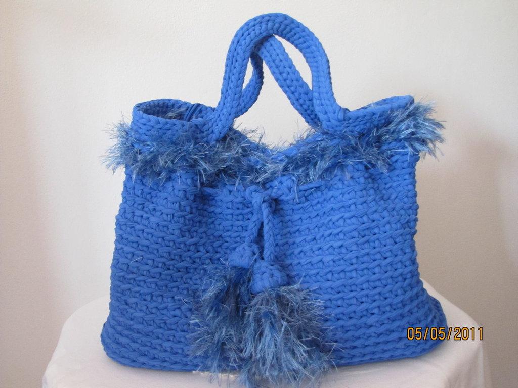 Borsa all 39 uncinetto con fettuccia in lycra donna borse for Schemi borse uncinetto