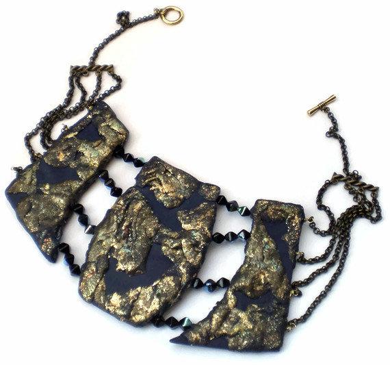 Etnic gold blu crystal collier