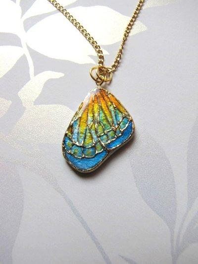 Pendente ala di farfalla dipinto a mano- gioielli fatti a mano