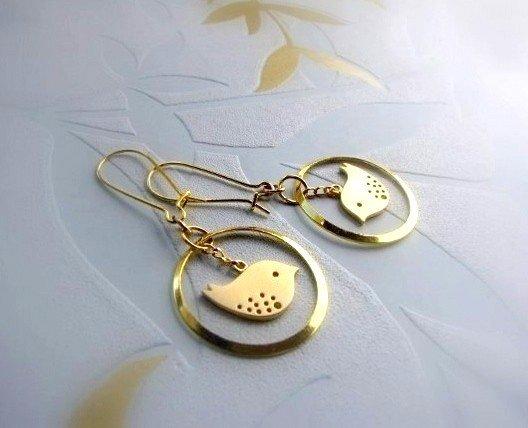 Orecchini con ucellino placcato oro- gioielli fatti a mano