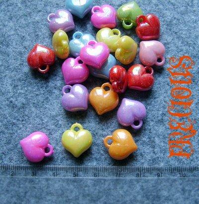14 pz charms cuore perlato