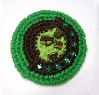 Spilla Green Chocolate and Swarovski