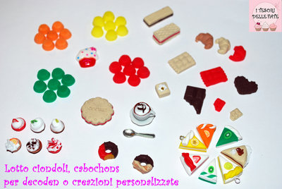 LOTTO 60 CIONDOLI,CHARMS,FIMO,MINIATURE,KAWAII,DECODEN,DOLLHOUSE,CERNIT,POLYMER CLAY!!!!!!