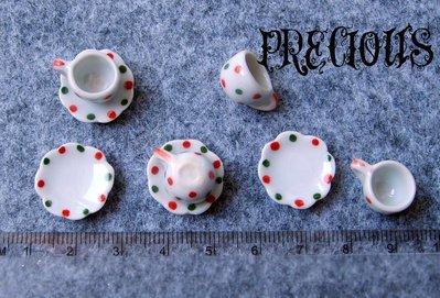 Miniatura tazzina con piattino pois