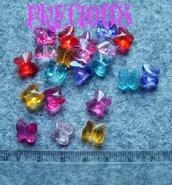 10 pz perline farfalline trasparenti
