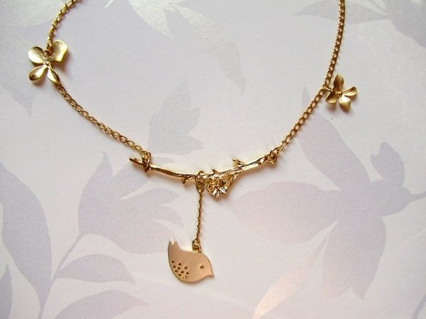 Collana rametto e ucellino placcata oro-gioielli fatti a mano