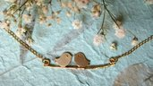 Collana ucellini sul rametto placcata oro- gioielli fatti a mano