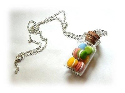 collana bottiglietta macarons fimo