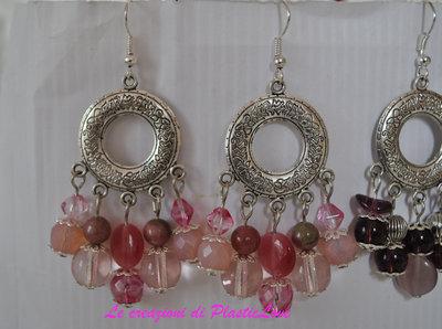 Orecchini chandelier rosa