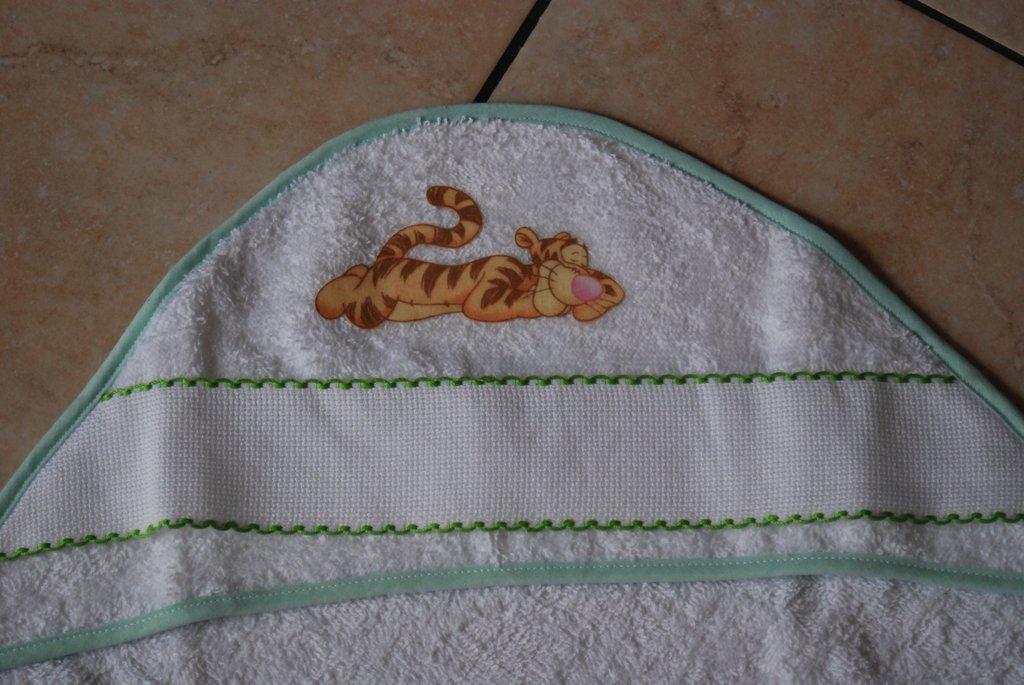 Accappatoio triangolo neonato - Tigro verde acqua